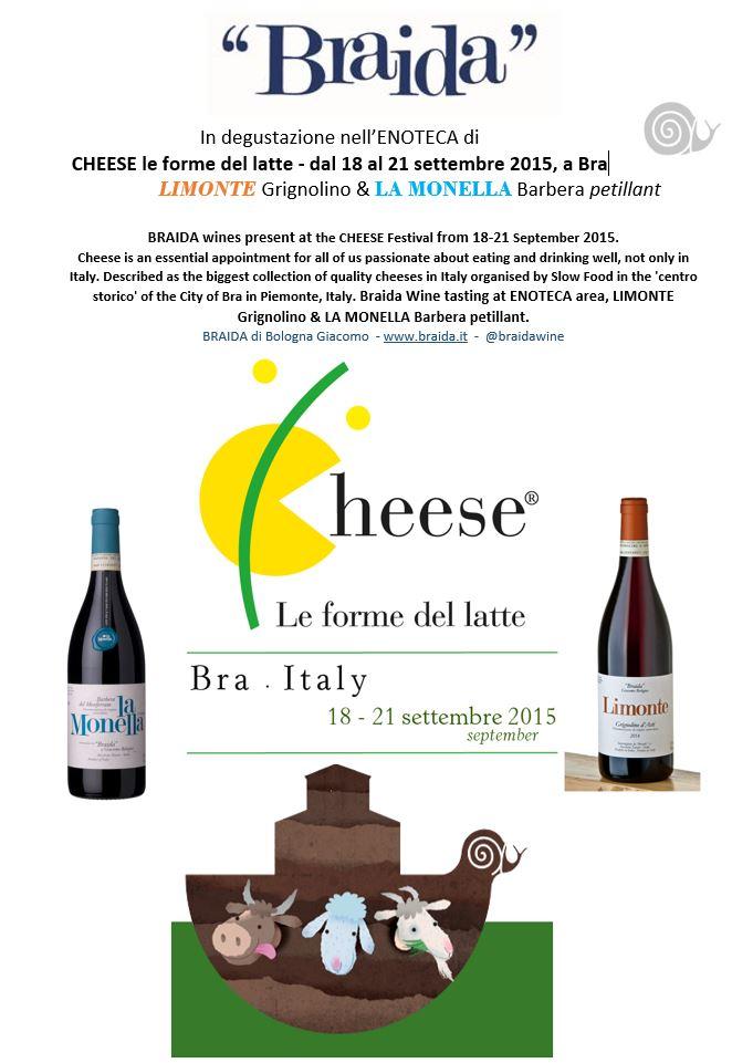 Dal 18 al 21 Settembre a Bra (CN) nell'ENOTECA del festival CHEESE le forme del latte
