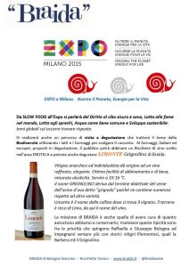 EXPO 2015 slow food vino wine BIODIVERSITA braida grignolino limonte