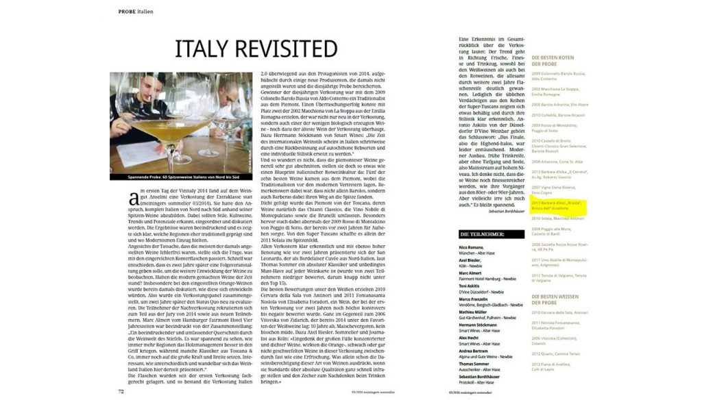 Bricco dell'Uccellone 2013 su Meiningers Sommelier