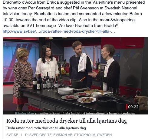 BRACHETTO D ACQUI BRAIDA SAN VALENTINE SAN VALENTINO on Sweden TV
